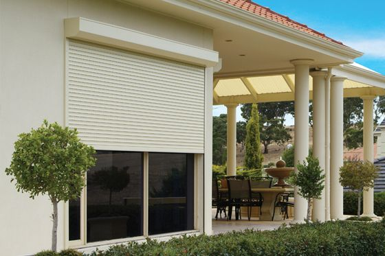 Cream or sand coloured residential-roller shutters