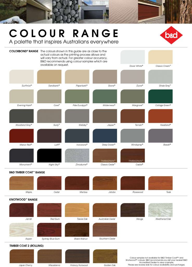 Colorbond Colors for Garage Doors