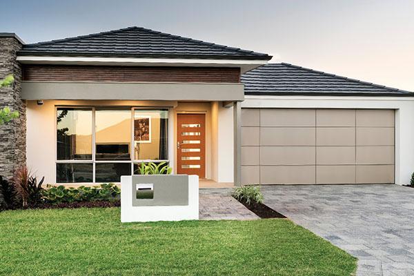 Aluminium Composite garage door - offset design Champagne