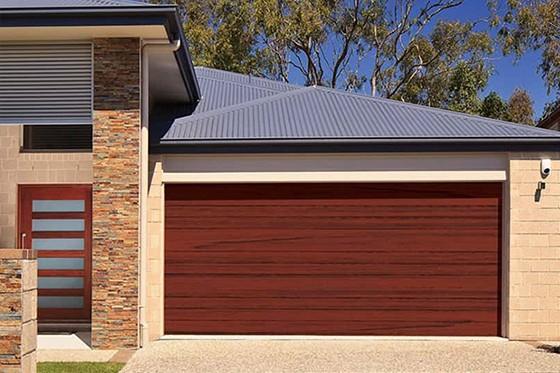 Timber-look double garage door